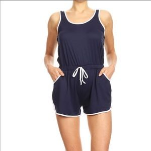 Pants - Navy Soft White Contrast Binding Romper!